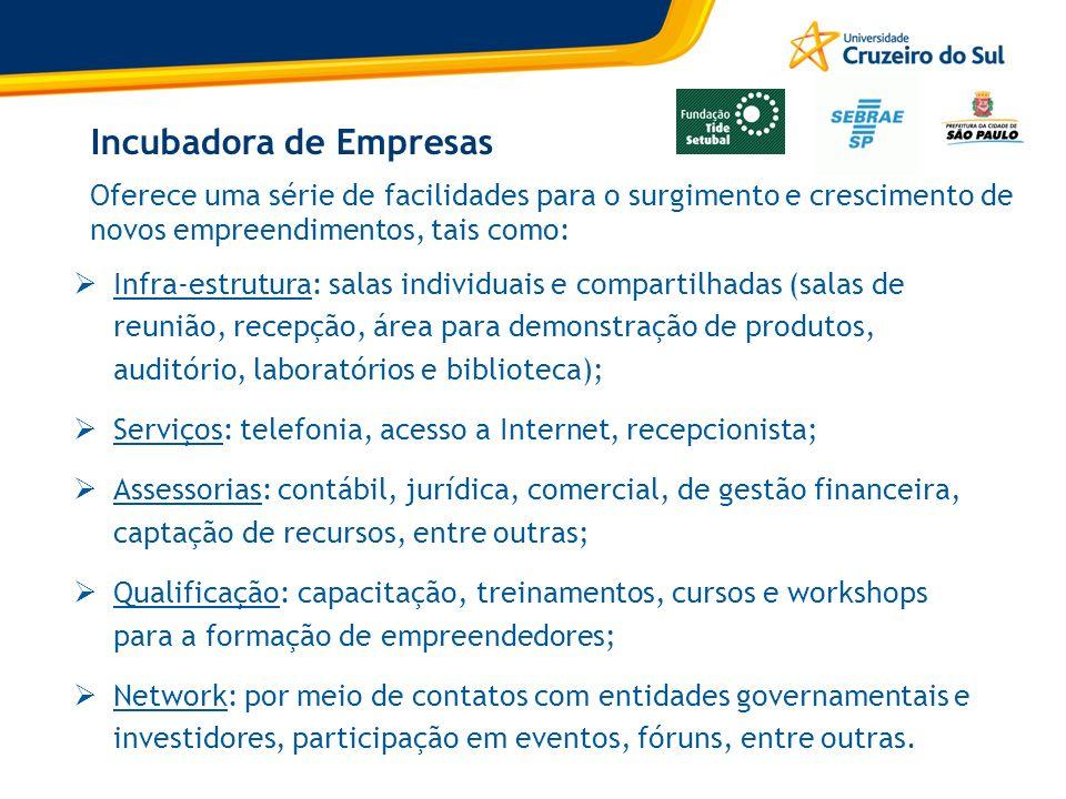 Incubadora de Empresas Infra-estrutura: salas individuais e compartilhadas (salas de reunião, recepção, área para demonstração de produtos, auditório,