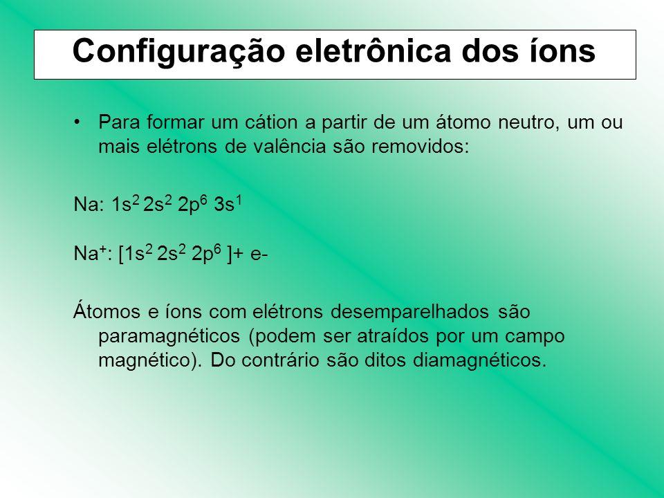 Para formar um cátion a partir de um átomo neutro, um ou mais elétrons de valência são removidos: Na: 1s 2 2s 2 2p 6 3s 1 Na + : [1s 2 2s 2 2p 6 ]+ e-
