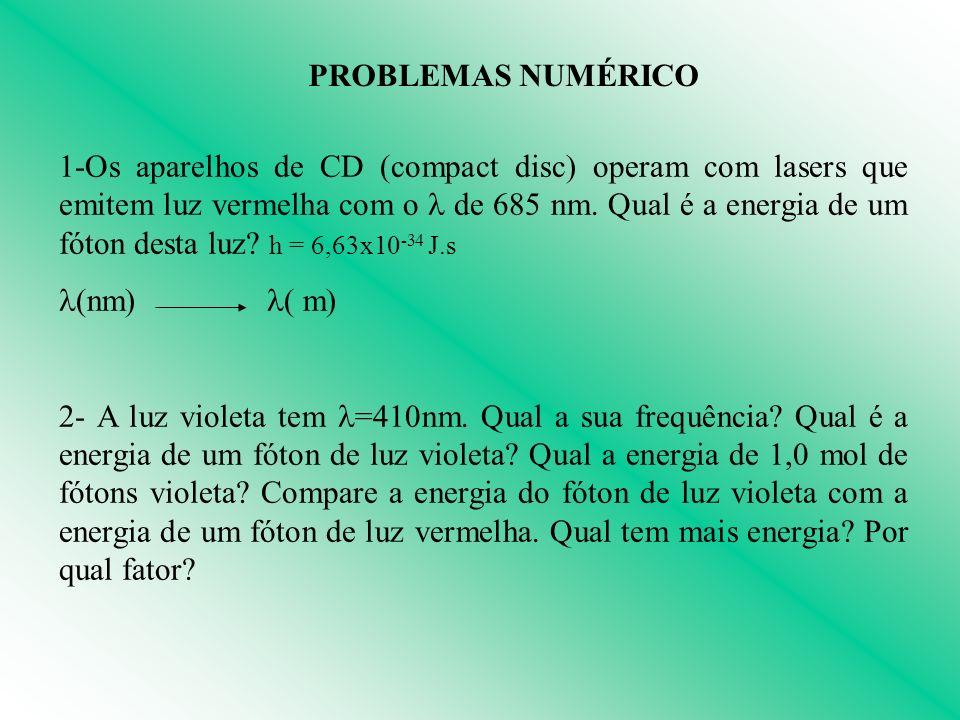 PROBLEMAS NUMÉRICO 1-Os aparelhos de CD (compact disc) operam com lasers que emitem luz vermelha com o de 685 nm. Qual é a energia de um fóton desta l