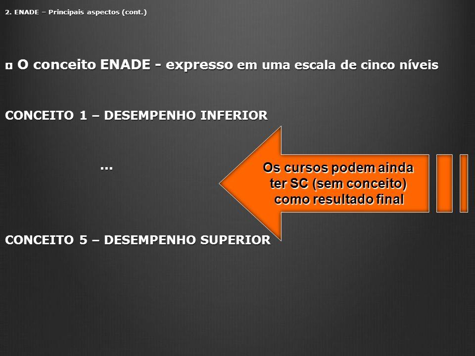 2. ENADE – Principais aspectos (cont.) O conceito ENADE - expresso em uma escala de cinco níveis O conceito ENADE - expresso em uma escala de cinco ní