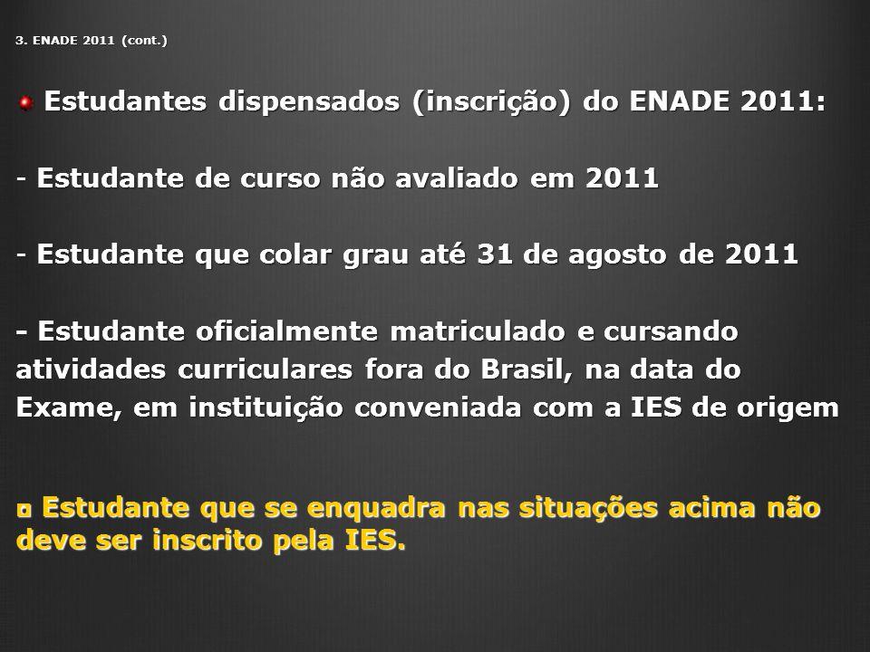 3. ENADE 2011 (cont.) Estudantes dispensados (inscrição) do ENADE 2011: Estudantes dispensados (inscrição) do ENADE 2011: - Estudante de curso não ava