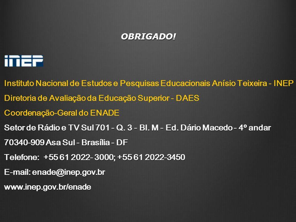 OBRIGADO! Instituto Nacional de Estudos e Pesquisas Educacionais Anísio Teixeira - INEP Diretoria de Avaliação da Educação Superior - DAES Coordenação