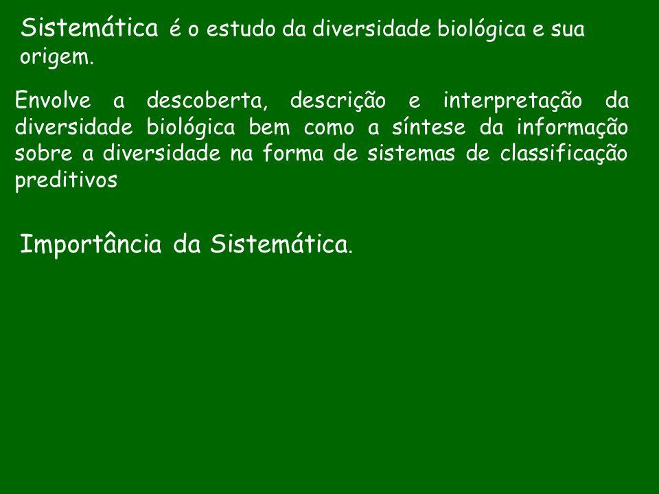 Sistemática é o estudo da diversidade biológica e sua origem. Envolve a descoberta, descrição e interpretação da diversidade biológica bem como a sínt