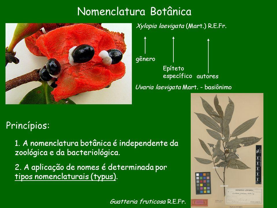 Nomenclatura Botânica Princípios: 1. A nomenclatura botânica é independente da zoológica e da bacteriológica. 2. A aplicação de nomes é determinada po
