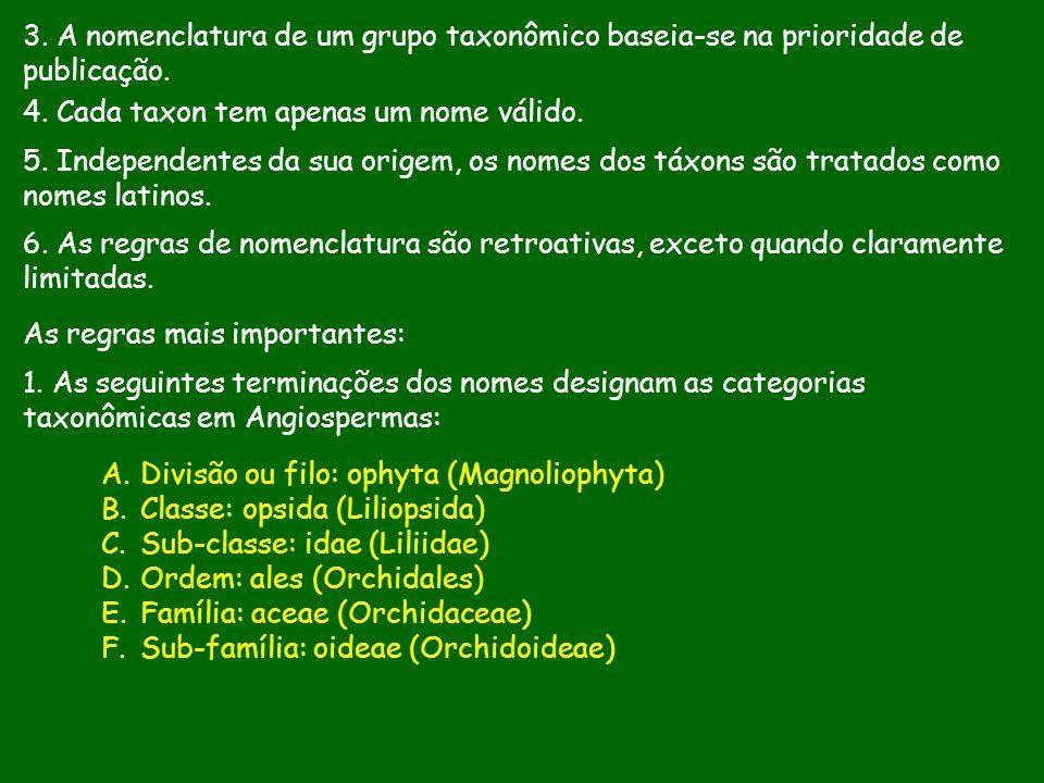 4. Cada taxon tem apenas um nome válido. 5. Independentes da sua origem, os nomes dos táxons são tratados como nomes latinos. 6. As regras de nomencla