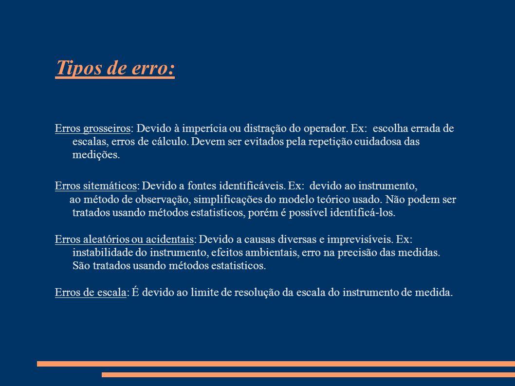 Tipos de erro: Erros grosseiros: Devido à imperícia ou distração do operador. Ex: escolha errada de escalas, erros de cálculo. Devem ser evitados pela