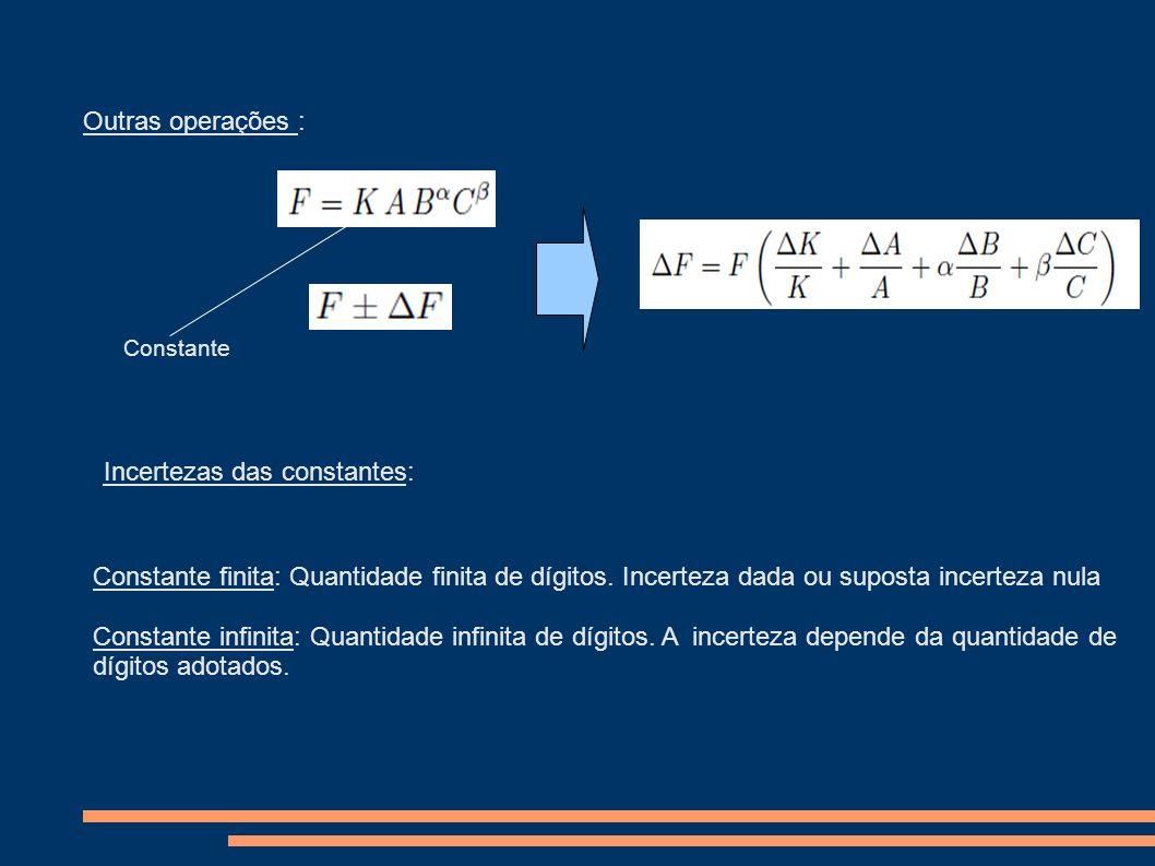 Outras operações : Constante Incertezas das constantes: Constante finita: Quantidade finita de dígitos. Incerteza dada ou suposta incerteza nula Const