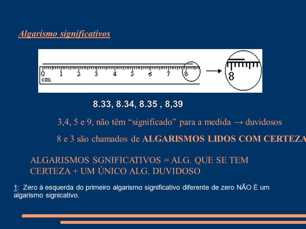 Algarismo significativos 8.33, 8.34, 8.35, 8,39 3,4, 5 e 9, não têm significado para a medida duvidosos 8 e 3 são chamados de ALGARISMOS LIDOS COM CERTEZA.