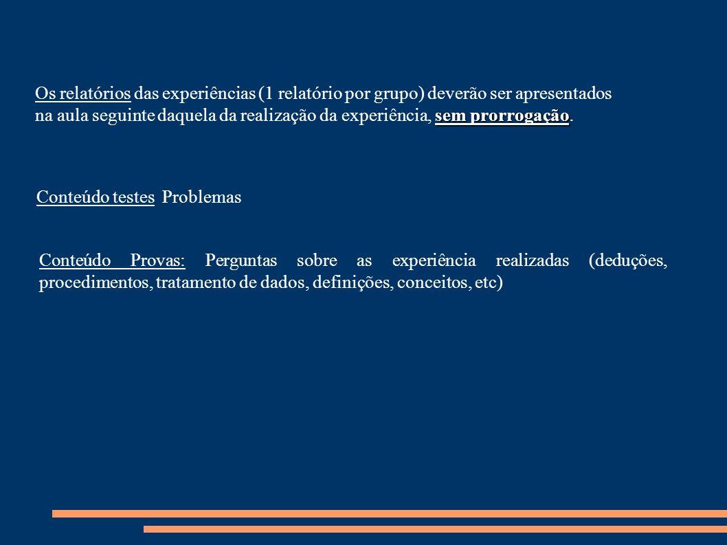 Conteúdo Provas: Perguntas sobre as experiência realizadas (deduções, procedimentos, tratamento de dados, definições, conceitos, etc) Conteúdo testes