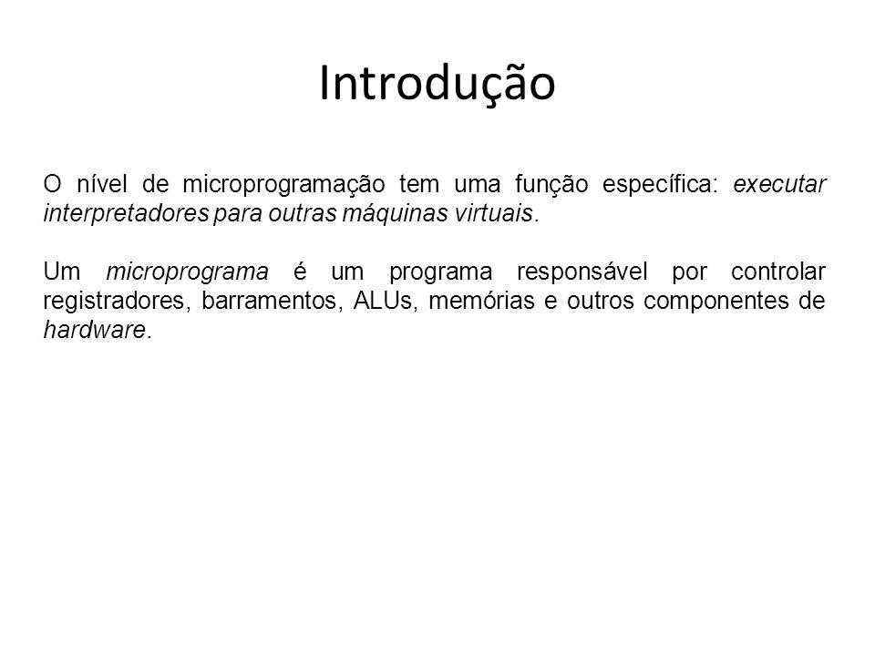 Introdução O nível de microprogramação tem uma função específica: executar interpretadores para outras máquinas virtuais. Um microprograma é um progra