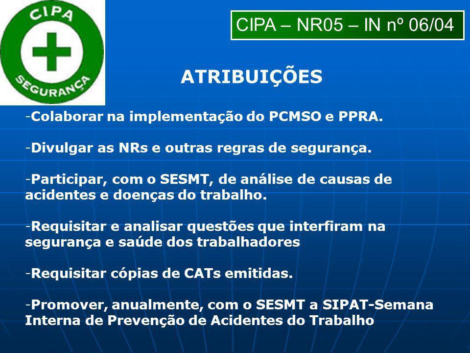 -Colaborar na implementação do PCMSO e PPRA. -Divulgar as NRs e outras regras de segurança. -Participar, com o SESMT, de análise de causas de acidente