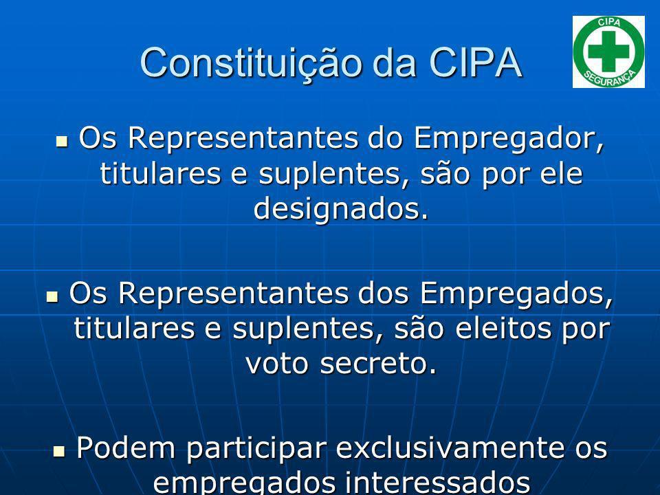 Constituição da CIPA Os Representantes do Empregador, titulares e suplentes, são por ele designados. Os Representantes do Empregador, titulares e supl