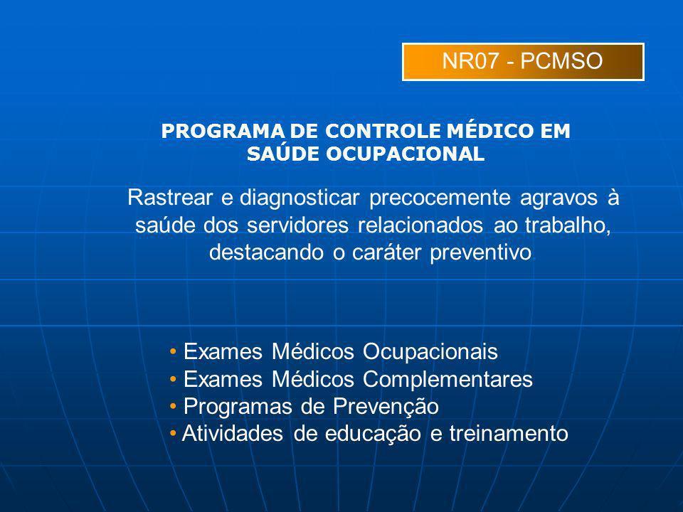 NR07 - PCMSO Rastrear e diagnosticar precocemente agravos à saúde dos servidores relacionados ao trabalho, destacando o caráter preventivo. Exames Méd