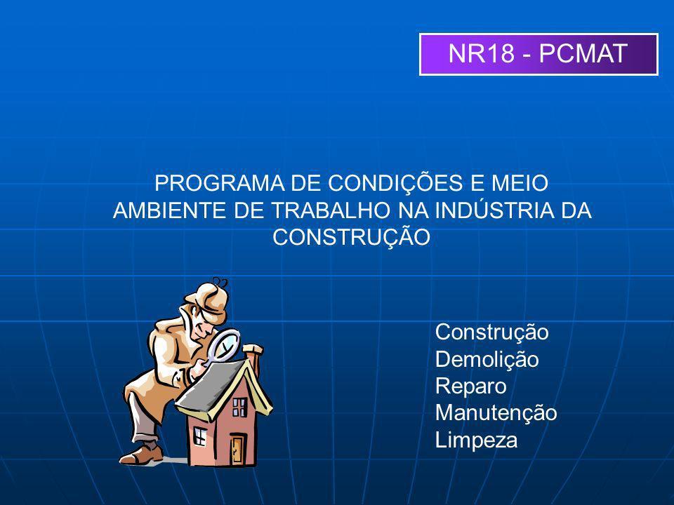 NR18 - PCMAT PROGRAMA DE CONDIÇÕES E MEIO AMBIENTE DE TRABALHO NA INDÚSTRIA DA CONSTRUÇÃO Construção Demolição Reparo Manutenção Limpeza