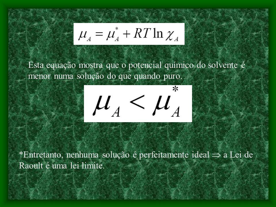 Quando uma solução obedece a lei de Raoult a solução é dita ideal