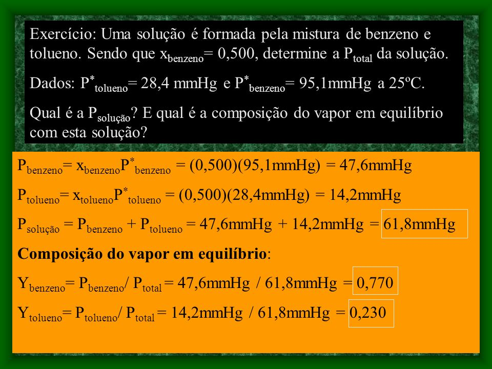 SOLUÇÃO DILUIDA IDEAL Lei de Henry A pressão de vapor de um soluto volátil B é proporcional à sua fração molar na solução P B = x B K B, onde K B é um