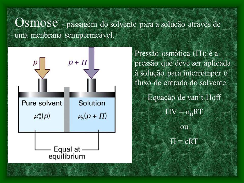 Ex.: Calcule o abaixamento crioscópico para uma solução de 50g de glicose em 1000g de água. T f = K f b eb, K f da água é 1,86Kkgmol -1 Esta solução c
