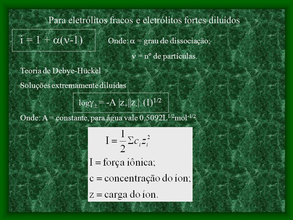 Soluções Eletrolíticas As soluções eletrolíticas apresentam propriedades diferentes em relação às soluções não eletrolíticas. Tem relação com o nº de
