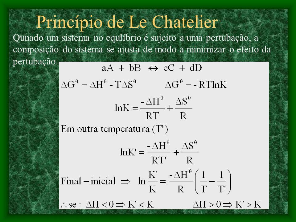aA + bB cC + dD Quando os coeficientes estequiométricos de uma equação balanceada são multiplicados por algum fator, a constante de equilíbrio para a