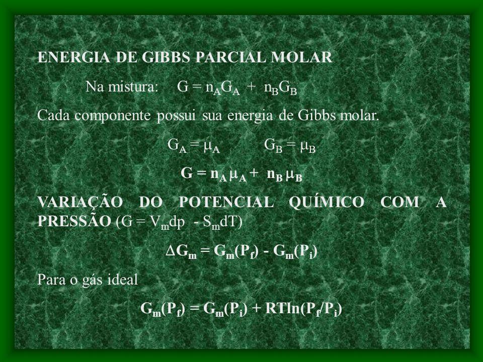 Volume total (mistura de A + B) - fig 6.1 V = n A V A + n B V B V A = volume parcial molar de A V B = volume parcial molar de B Ex.: qual o volume fin