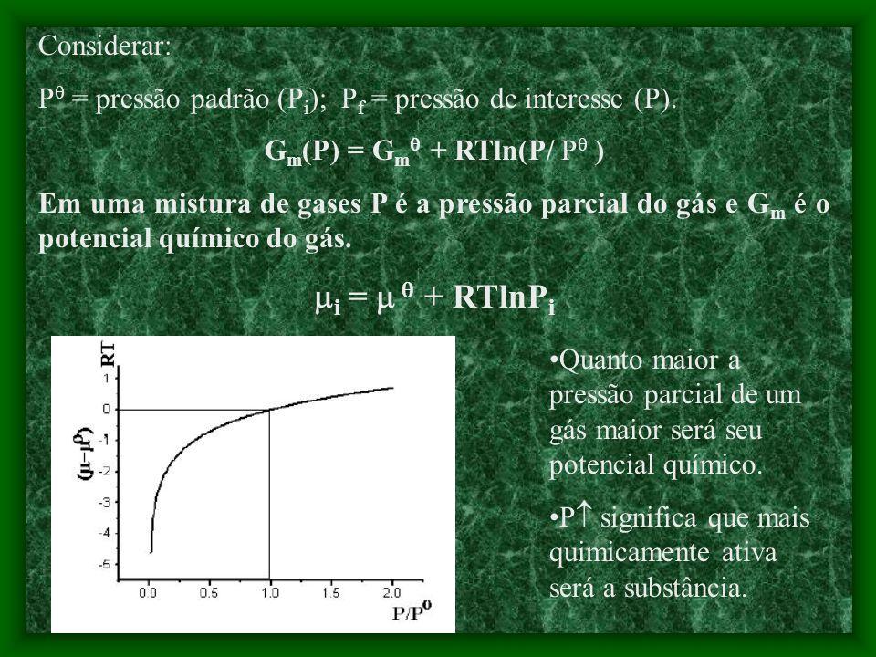 ENERGIA DE GIBBS PARCIAL MOLAR Na mistura: G = n A G A + n B G B Cada componente possui sua energia de Gibbs molar. G A = A G B = B G = n A A + n B B