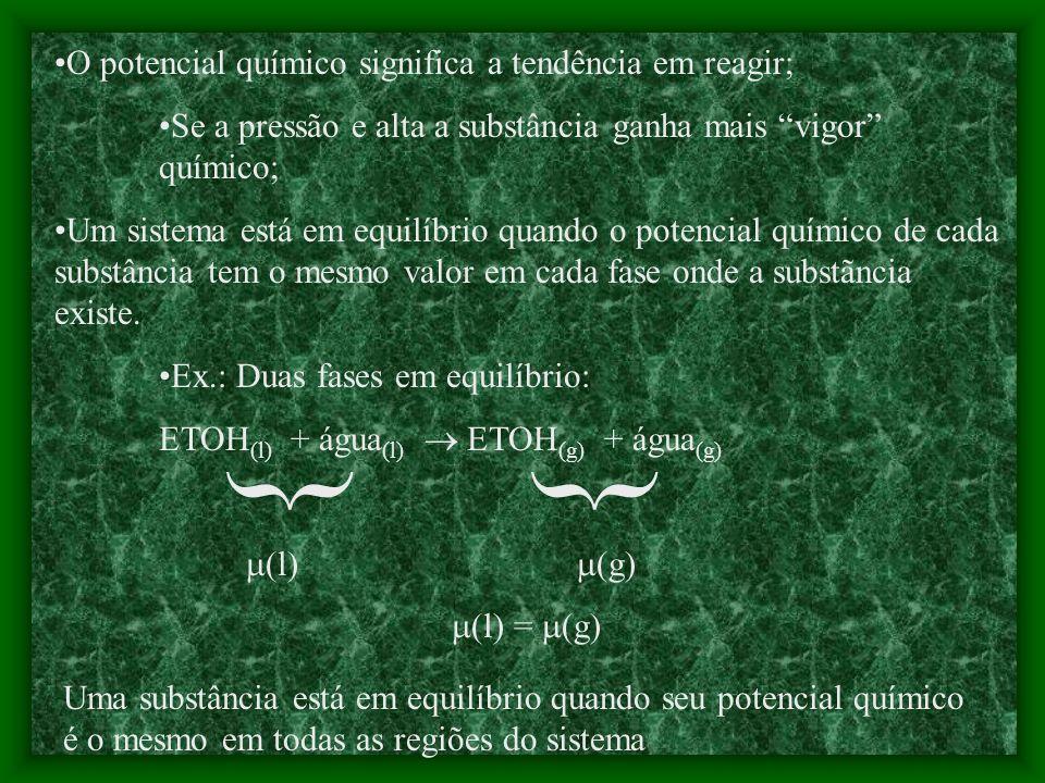 Considerar: P = pressão padrão (P i ); P f = pressão de interesse (P). G m (P) = G m + RTln(P/ P ) Em uma mistura de gases P é a pressão parcial do gá