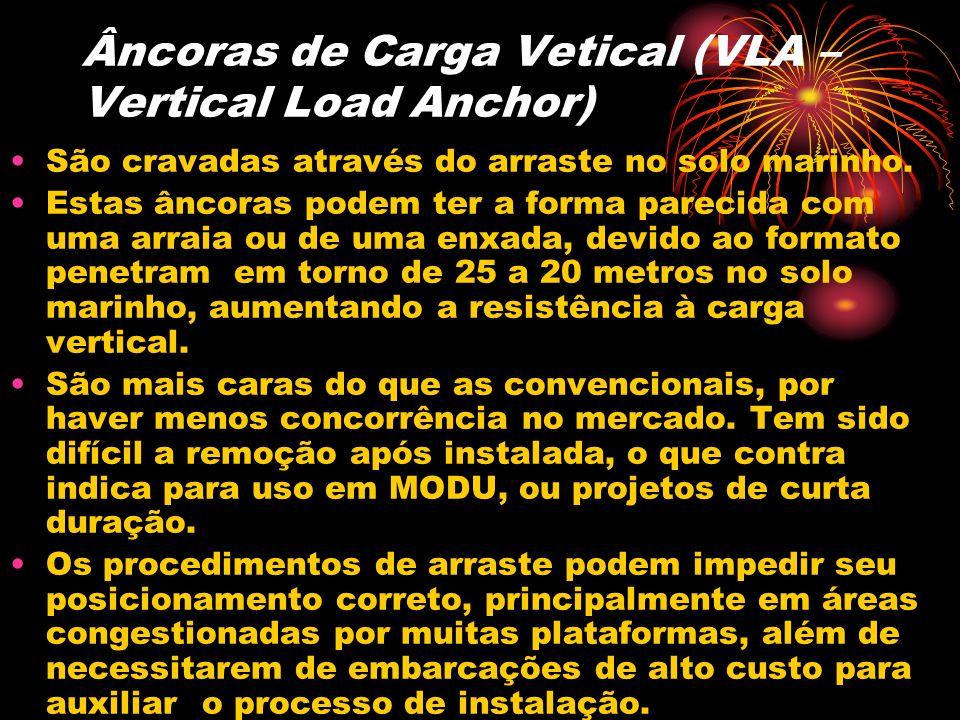 Âncoras de Carga Vetical (VLA – Vertical Load Anchor) São cravadas através do arraste no solo marinho. Estas âncoras podem ter a forma parecida com um