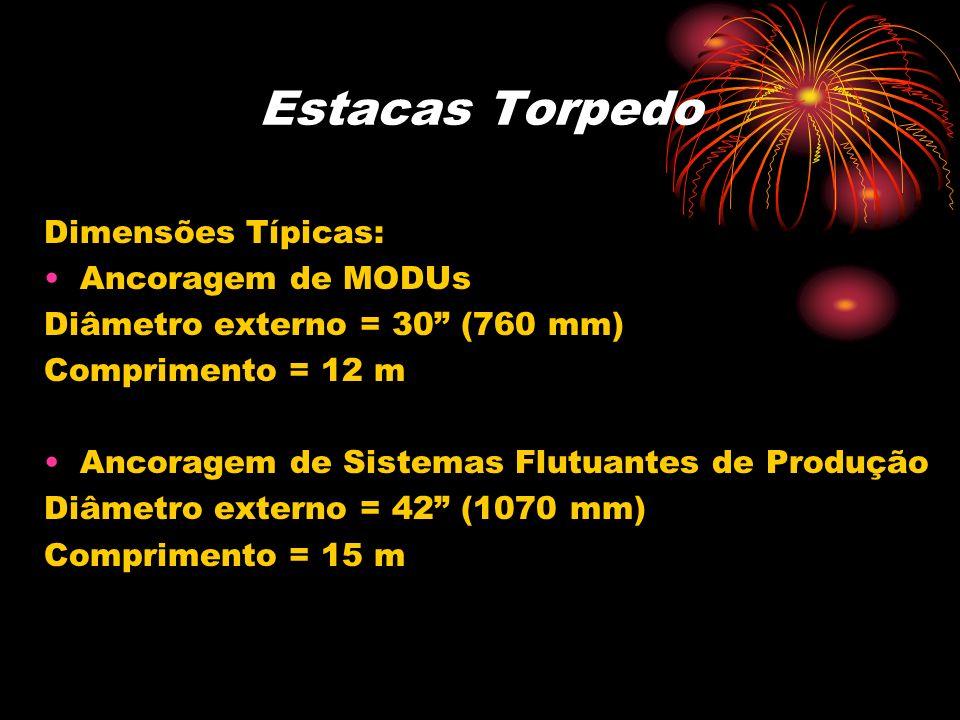 Estacas Torpedo Dimensões Típicas: Ancoragem de MODUs Diâmetro externo = 30 (760 mm) Comprimento = 12 m Ancoragem de Sistemas Flutuantes de Produção D
