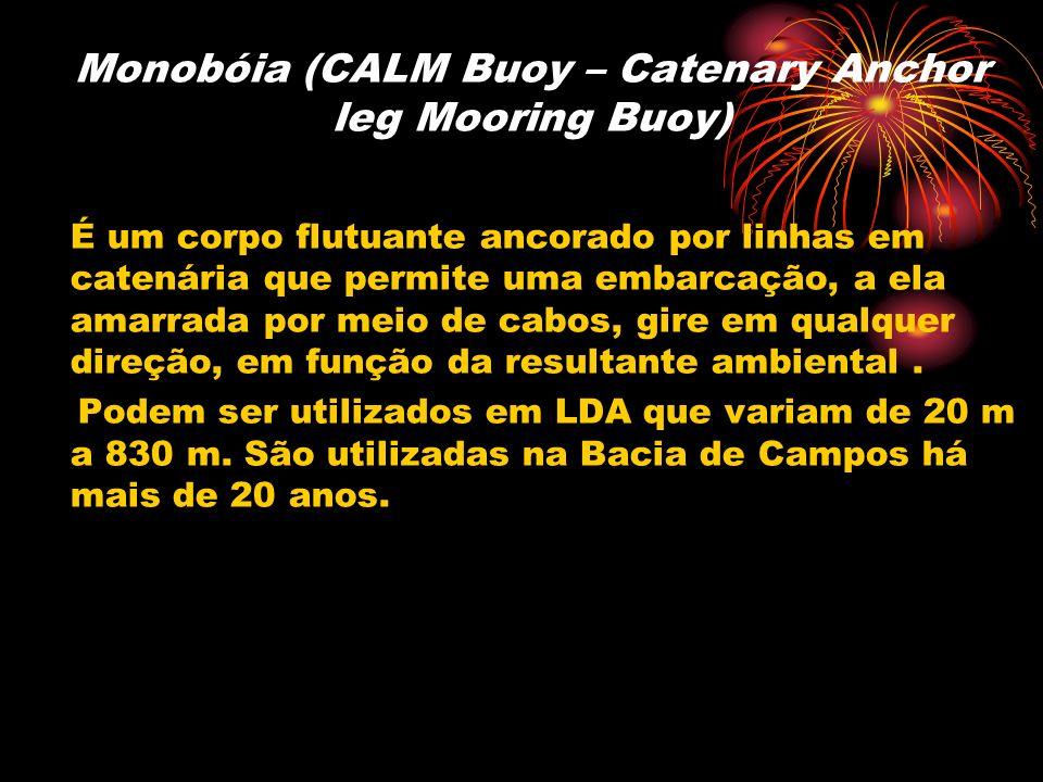 Monobóia (CALM Buoy – Catenary Anchor leg Mooring Buoy) É um corpo flutuante ancorado por linhas em catenária que permite uma embarcação, a ela amarra