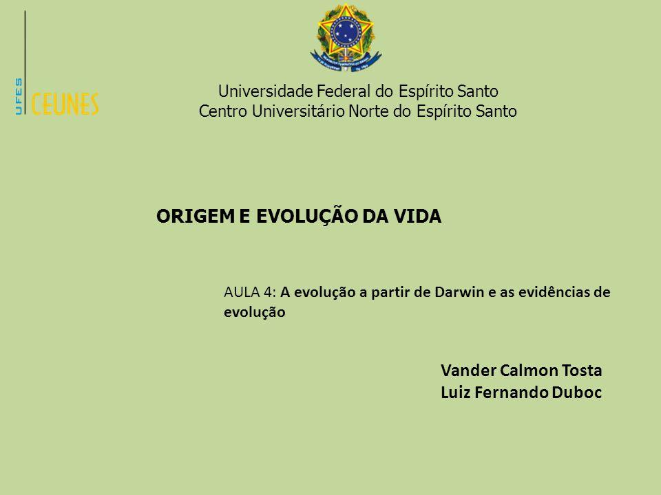 Universidade Federal do Espírito Santo Centro Universitário Norte do Espírito Santo ORIGEM E EVOLUÇÃO DA VIDA AULA 4: A evolução a partir de Darwin e