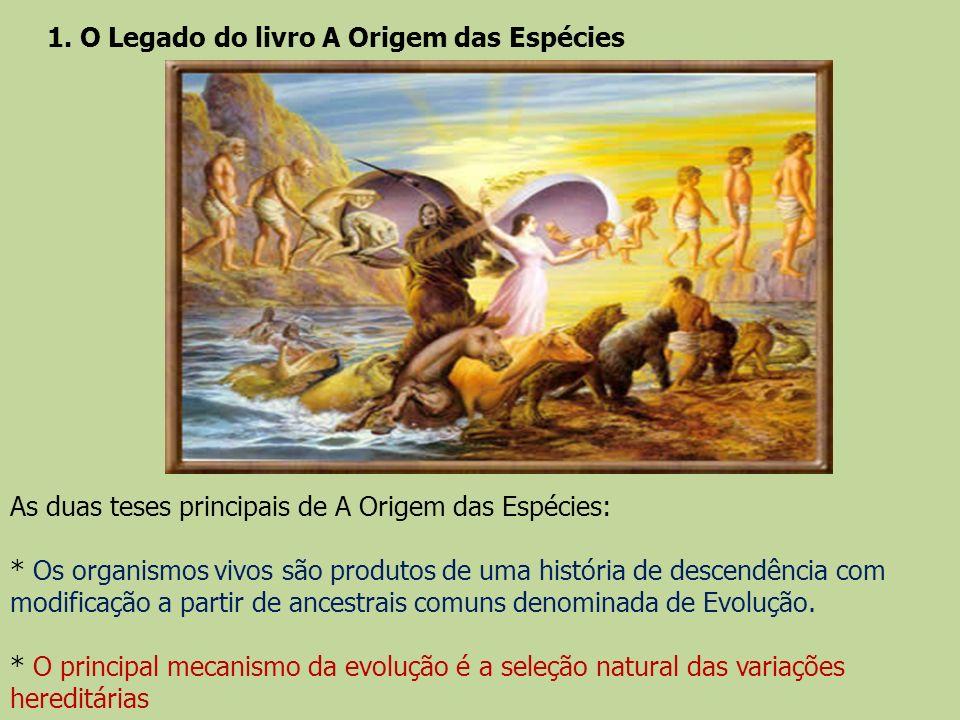 As duas teses principais de A Origem das Espécies: * Os organismos vivos são produtos de uma história de descendência com modificação a partir de ance