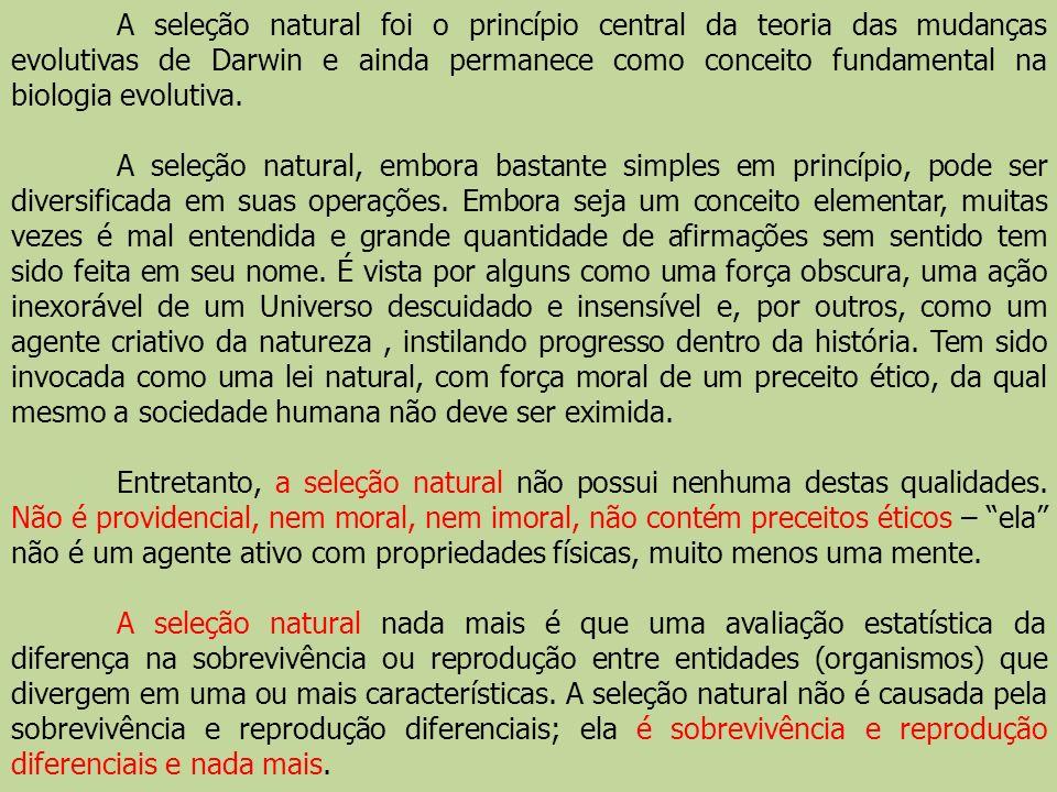 A seleção natural foi o princípio central da teoria das mudanças evolutivas de Darwin e ainda permanece como conceito fundamental na biologia evolutiv