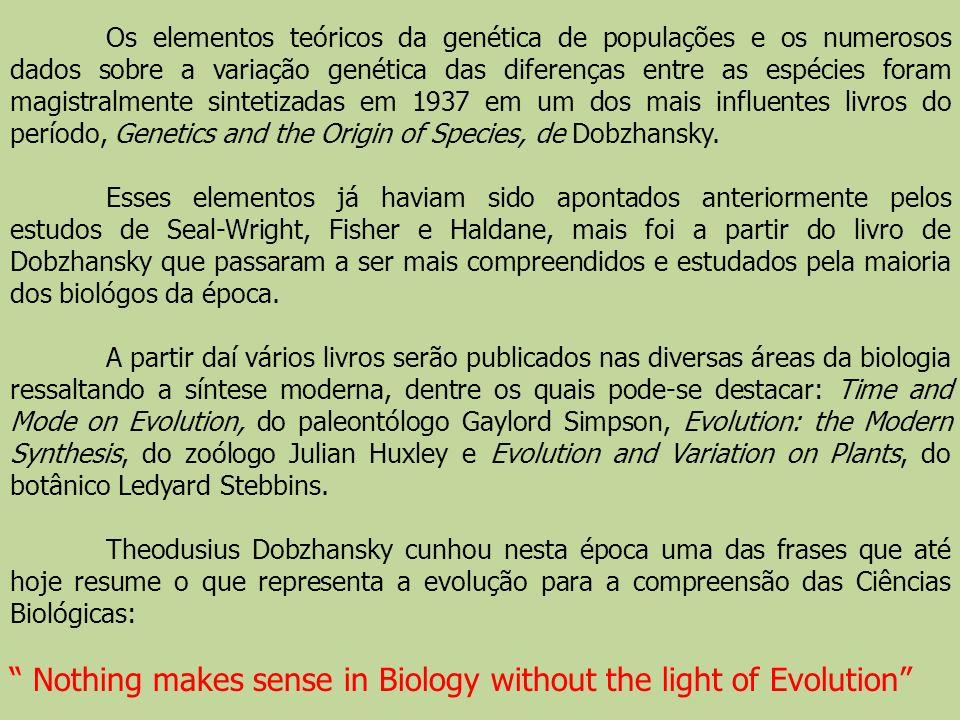 Os elementos teóricos da genética de populações e os numerosos dados sobre a variação genética das diferenças entre as espécies foram magistralmente s