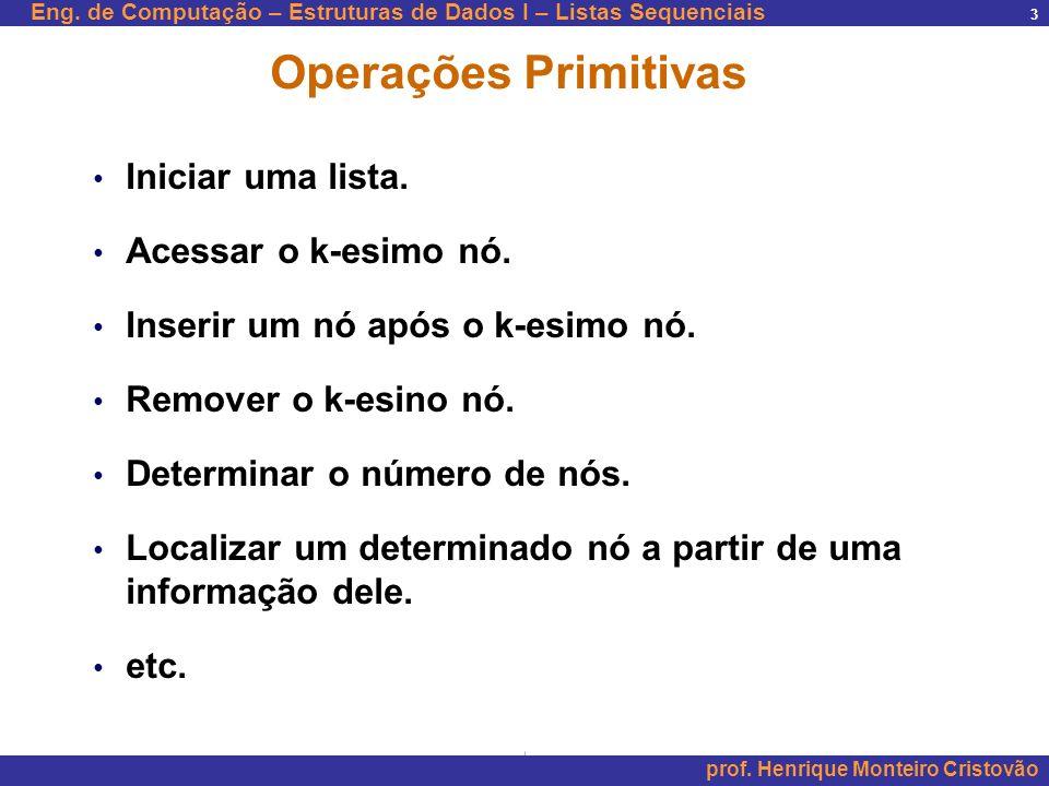 Eng. de Computação – Estruturas de Dados I – Listas Sequenciais prof. Henrique Monteiro Cristovão 3 Operações Primitivas Iniciar uma lista. Acessar o