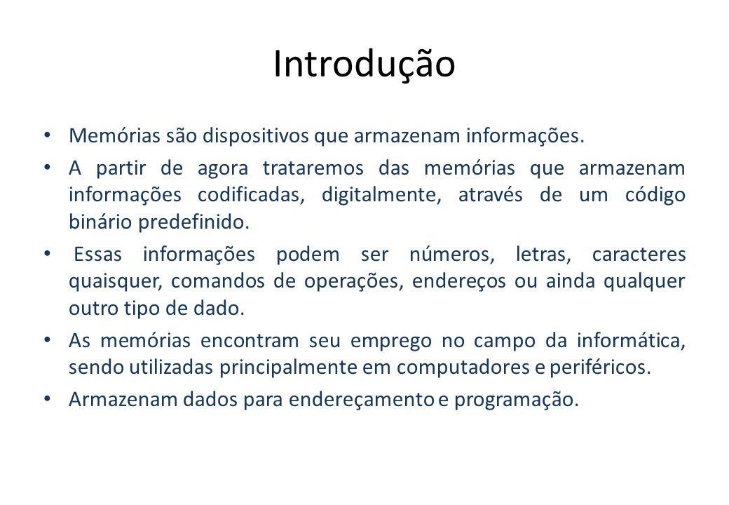 Introdução Memórias são dispositivos que armazenam informações.