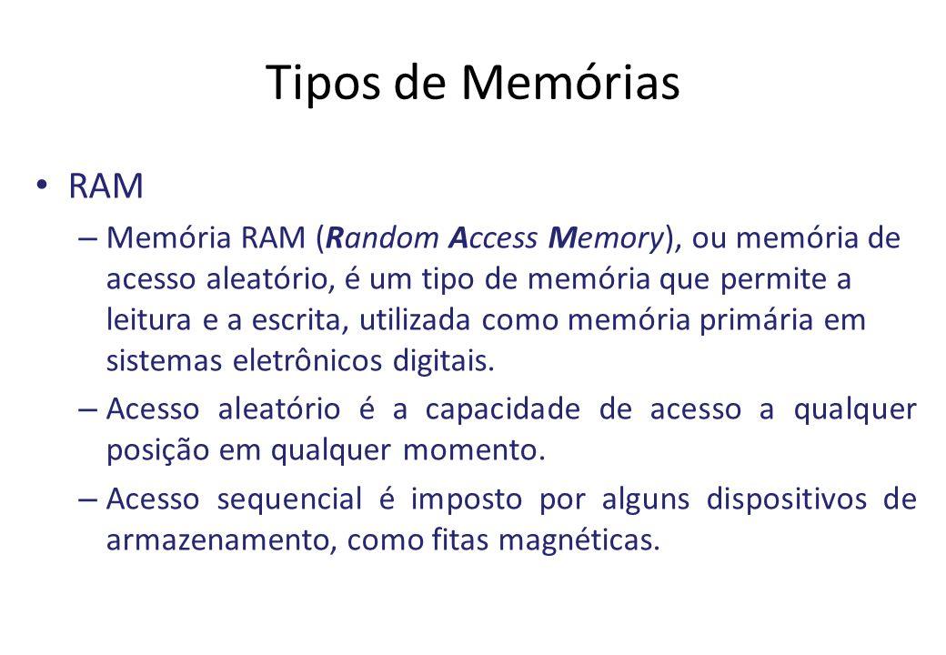 Tipos de Memórias RAM – Memória RAM (Random Access Memory), ou memória de acesso aleatório, é um tipo de memória que permite a leitura e a escrita, utilizada como memória primária em sistemas eletrônicos digitais.