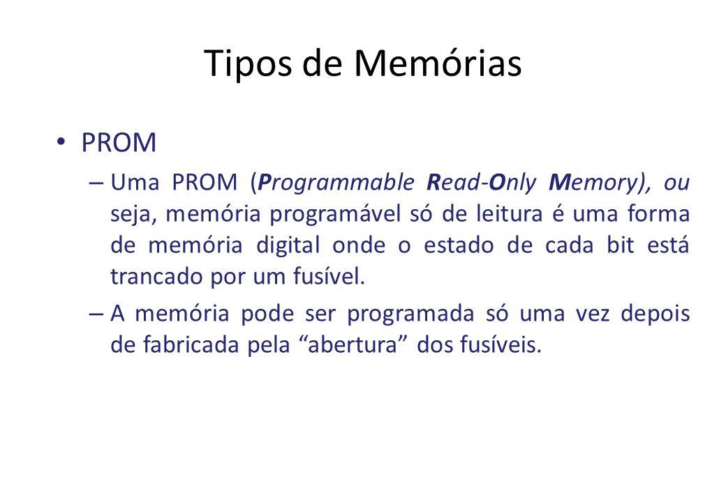 Tipos de Memórias PROM – Uma PROM (Programmable Read-Only Memory), ou seja, memória programável só de leitura é uma forma de memória digital onde o estado de cada bit está trancado por um fusível.