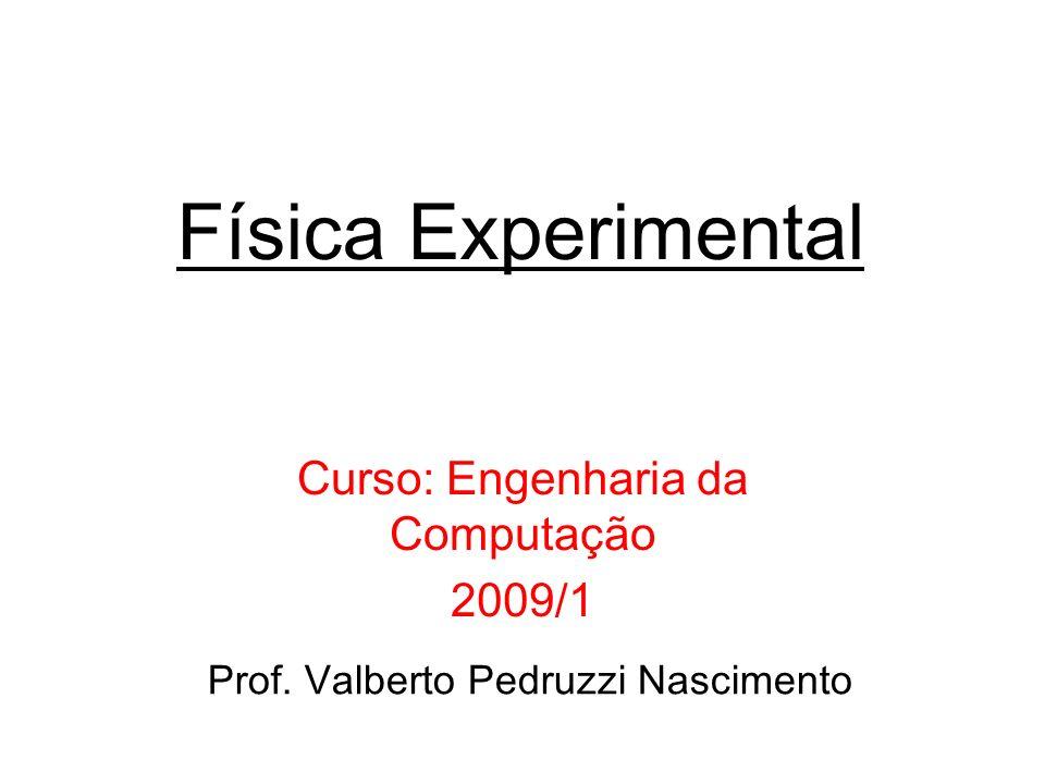 Física Experimental Curso: Engenharia da Computação 2009/1 Prof. Valberto Pedruzzi Nascimento