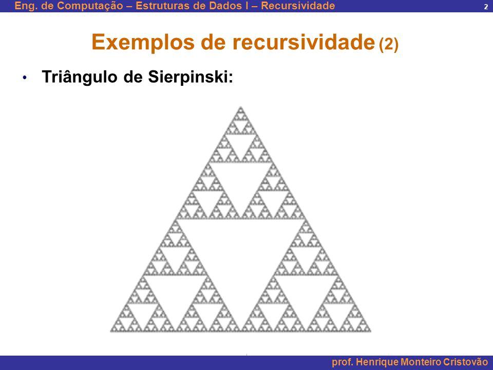 Eng. de Computação – Estruturas de Dados I – Recursividade prof. Henrique Monteiro Cristovão 2 Exemplos de recursividade (2) Triângulo de Sierpinski: