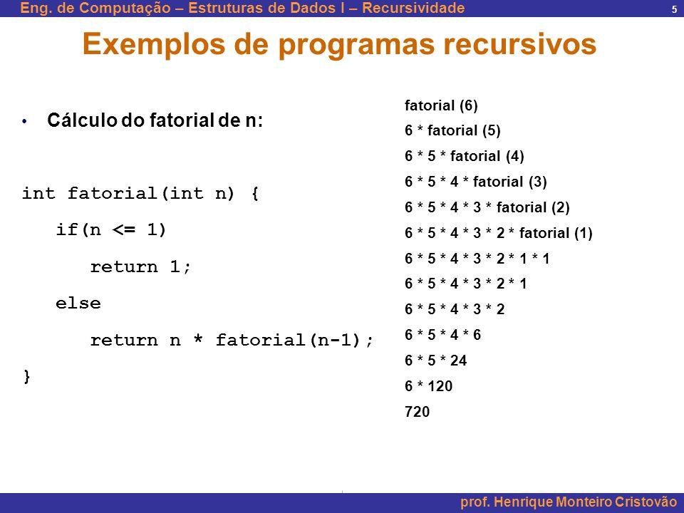 Eng. de Computação – Estruturas de Dados I – Recursividade prof. Henrique Monteiro Cristovão 5 Exemplos de programas recursivos Cálculo do fatorial de