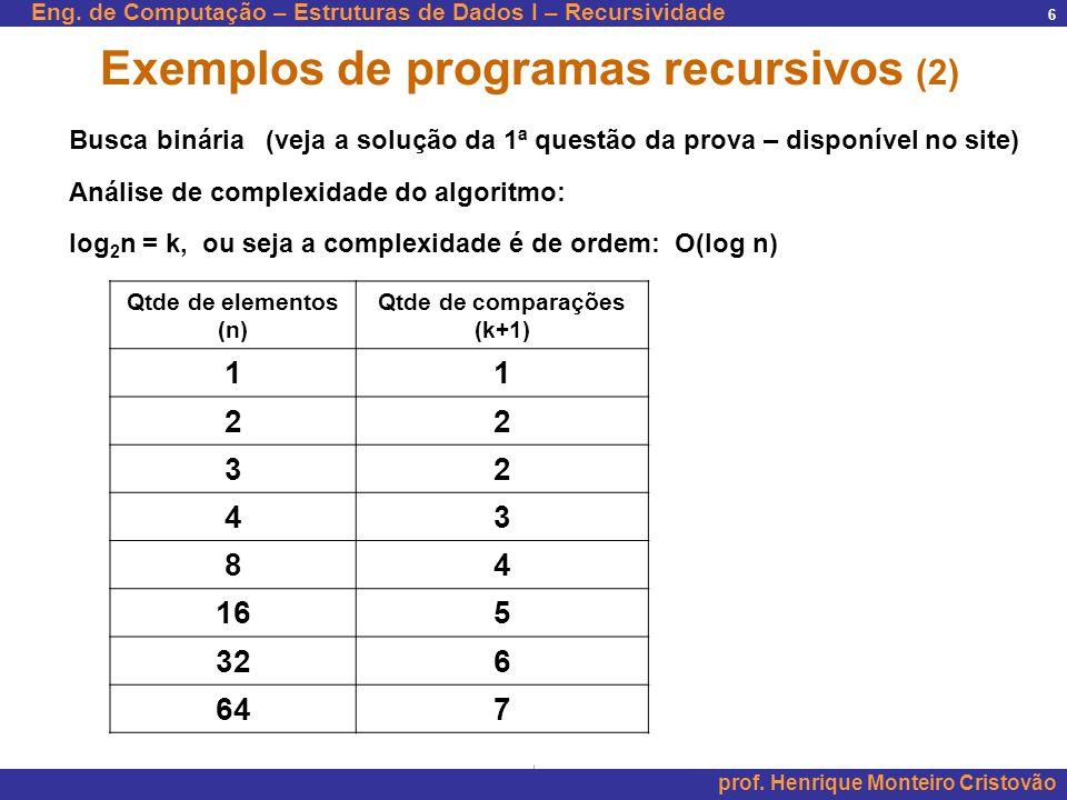 Eng. de Computação – Estruturas de Dados I – Recursividade prof. Henrique Monteiro Cristovão 6 Exemplos de programas recursivos (2) Busca binária (vej