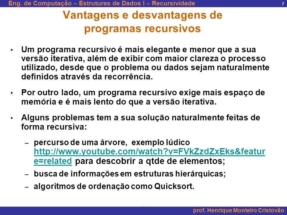 Eng. de Computação – Estruturas de Dados I – Recursividade prof. Henrique Monteiro Cristovão 7 Vantagens e desvantagens de programas recursivos Um pro