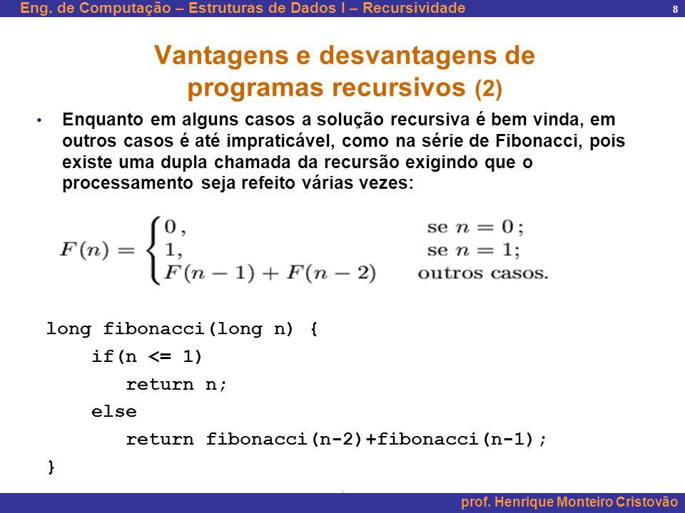 Eng. de Computação – Estruturas de Dados I – Recursividade prof. Henrique Monteiro Cristovão 8 Vantagens e desvantagens de programas recursivos (2) En