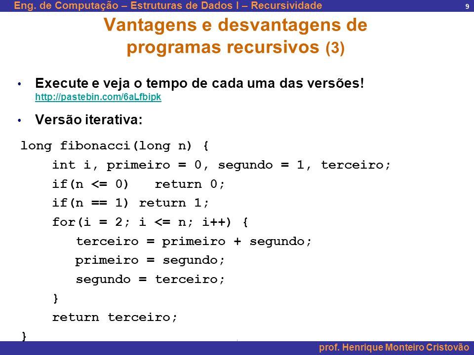 Eng. de Computação – Estruturas de Dados I – Recursividade prof. Henrique Monteiro Cristovão 9 Vantagens e desvantagens de programas recursivos (3) Ex