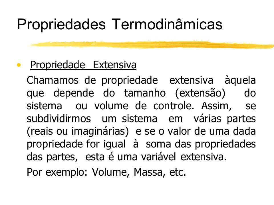 Propriedades Termodinâmicas Propriedade Extensiva Chamamos de propriedade extensiva àquela que depende do tamanho (extensão) do sistema ou volume de c