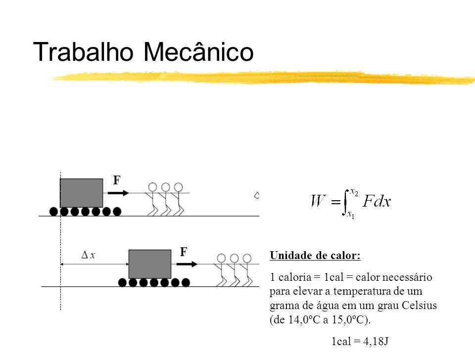 Unidade de calor: 1 caloria = 1cal = calor necessário para elevar a temperatura de um grama de água em um grau Celsius (de 14,0ºC a 15,0ºC). 1cal = 4,
