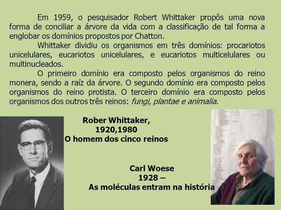 Em 1959, o pesquisador Robert Whittaker propôs uma nova forma de conciliar a árvore da vida com a classificação de tal forma a englobar os domínios pr