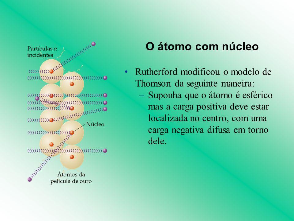 O átomo com núcleo Rutherford modificou o modelo de Thomson da seguinte maneira: –Suponha que o átomo é esférico mas a carga positiva deve estar local