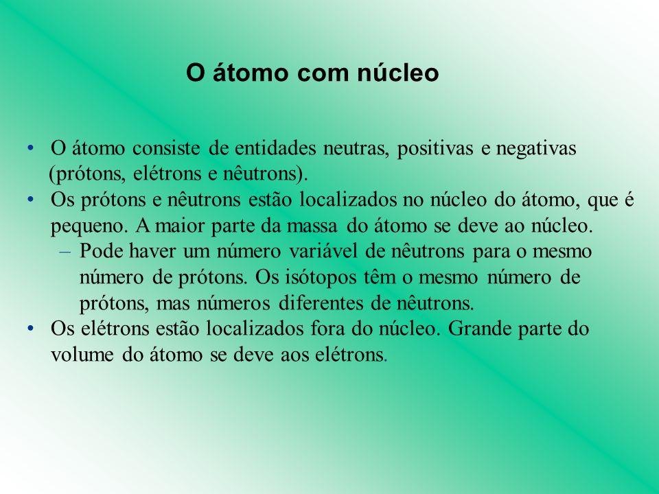 O átomo consiste de entidades neutras, positivas e negativas (prótons, elétrons e nêutrons). Os prótons e nêutrons estão localizados no núcleo do átom