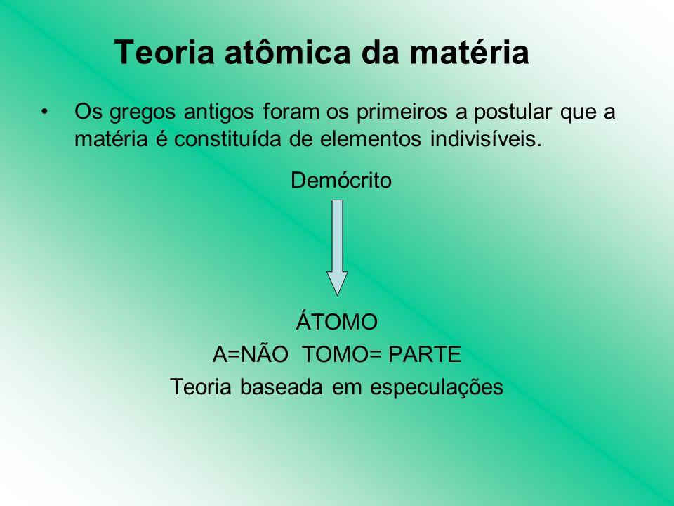 Os gregos antigos foram os primeiros a postular que a matéria é constituída de elementos indivisíveis. Demócrito ÁTOMO A=NÃO TOMO= PARTE Teoria basead